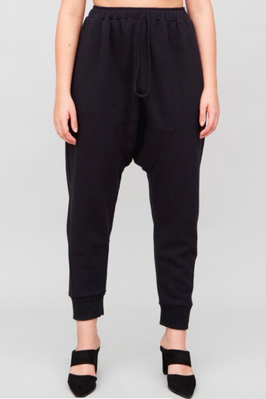 OAk cuffed gusset sweatpants black plus size COverstoryNYC