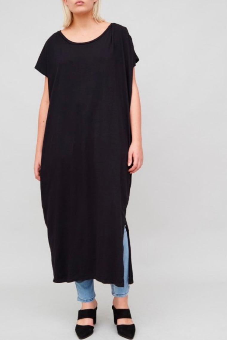 OAK Side Pleat Box Maxi Dress - Black