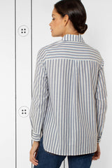 Thirteen-Seven The Trapezoid Pullover Shirt - True Blue Stripe