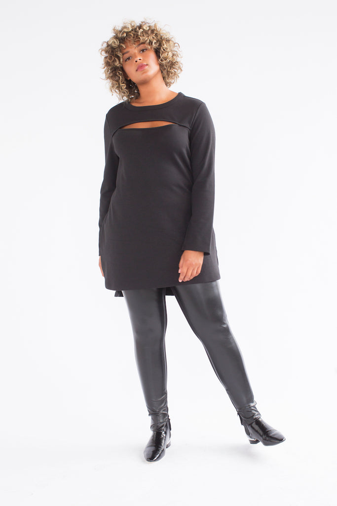 See Rose Go Peek-a-Boo Tunic - Black