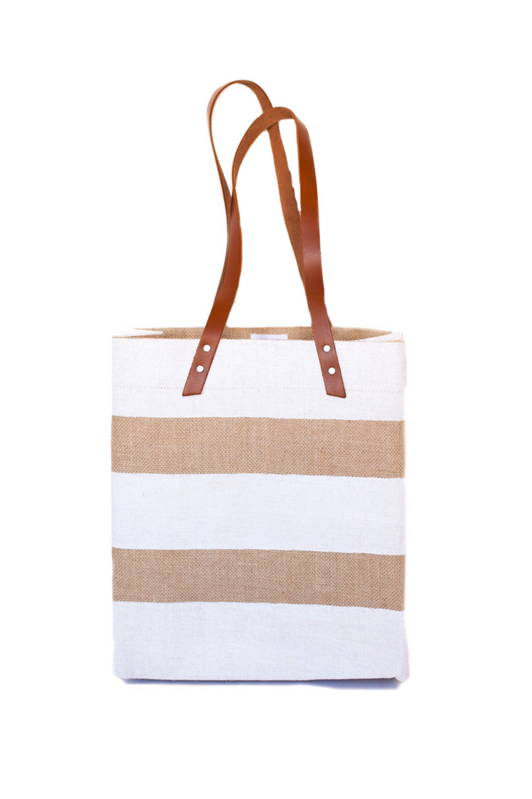 Apolis Nautical Stripe Tote -  White