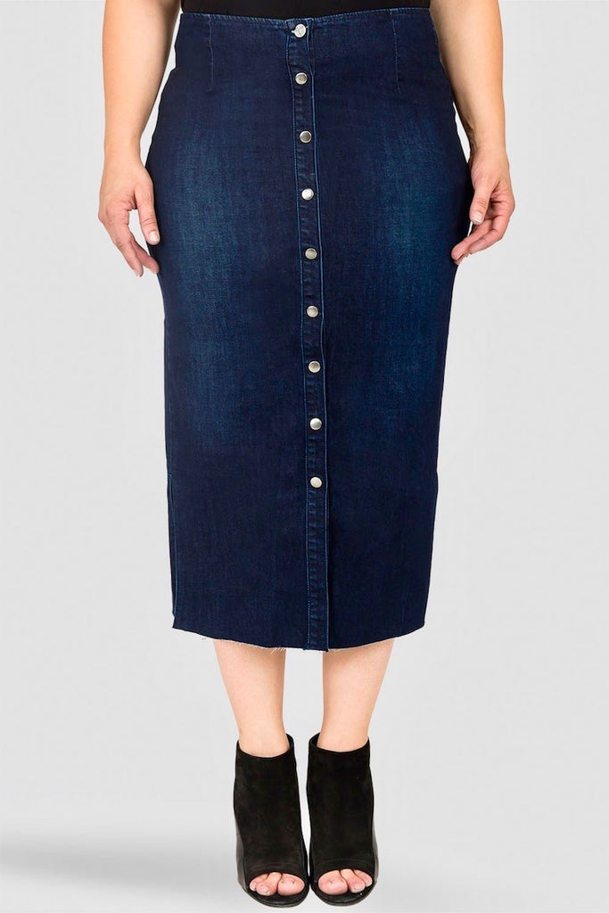 Standards & Practices Elain Denim Midi Pencil Skirt plus size