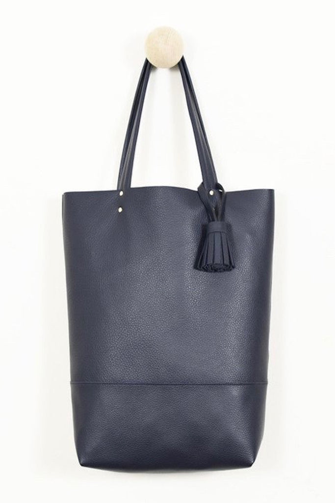 864 navy leather tote coverstorynyc