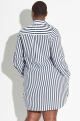 See Rose Go Essential Tunic Shirt - Charcoal Stripe