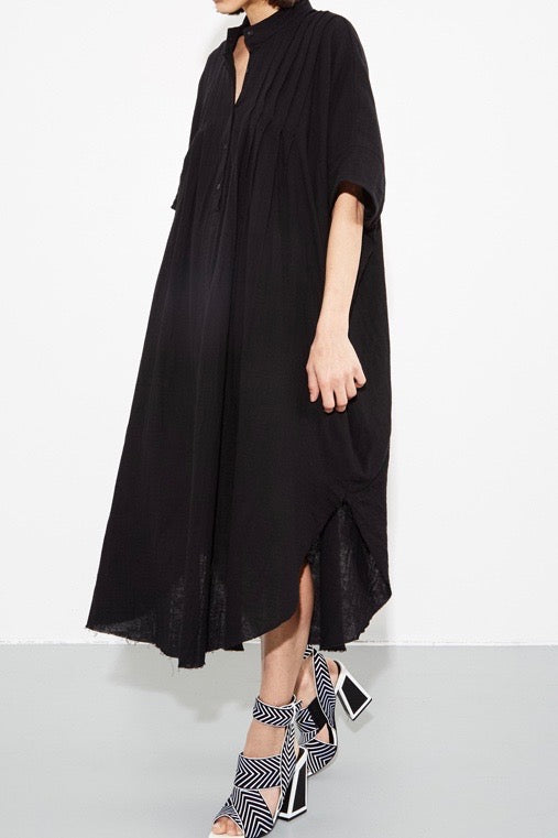 OAK Pintuck Maxi Dress plus size black CoverstoryNYC
