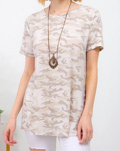 Vintage Camouflage Short Sleeve Top