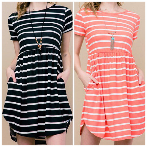 Striped Short Sleeve Fit & Flare Dress