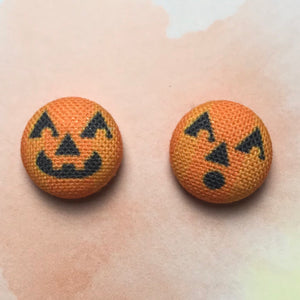 Jack-o-lantern Button Earrings