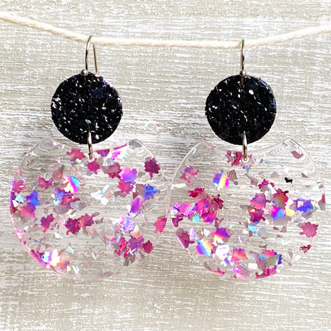 Silver & Pink Leaves Glitter Acrylic/Leather Dangles