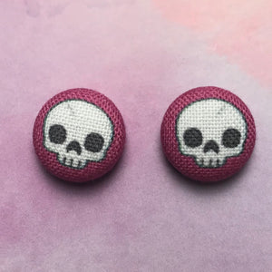Skull Button Earrings