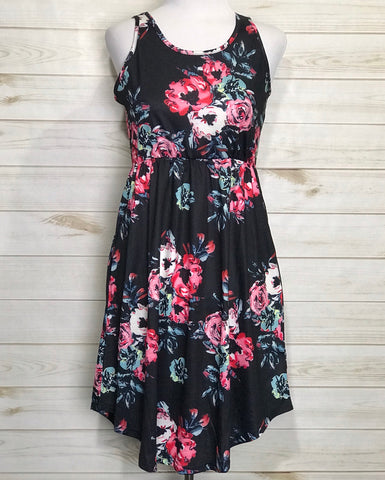Sleeveless Navy Floral Fit & Flare Dress with Pockets