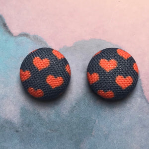 Navy & Red Hearts Button Earrings