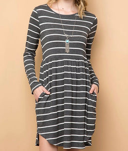 Charcoal Striped Fit & Flare with Pockets
