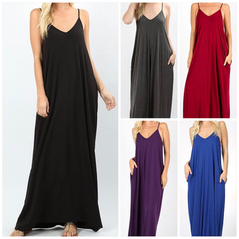 Cami Maxi with Pockets & Adjustable Straps