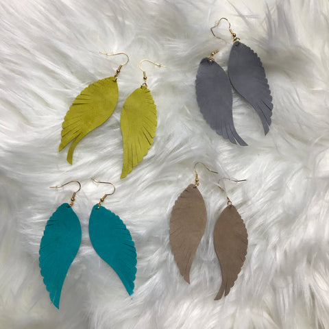 Wing Shaped Leather Earrings
