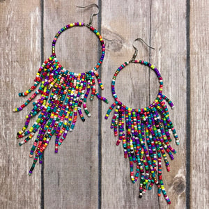 Boho Beaded Rainbow Dangles