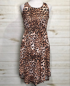 Sleeveless Leopard Print Fit & Flare Dress with Pockets