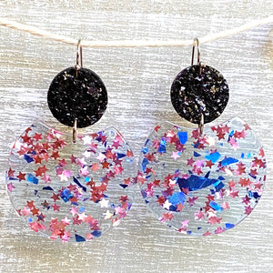 Blue & Pink Star Glitter Acrylic/Leather Dangles