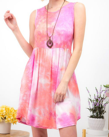 Pink Tie Dye Sleeveless Dress with Pockets