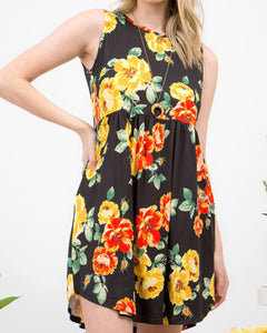 Sleeveless Spring Floral Fit & Flare Dress with Pockets