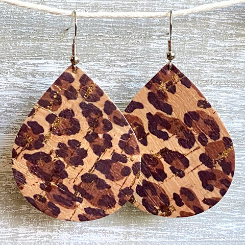 Leopard Print Cork Leather Earrings