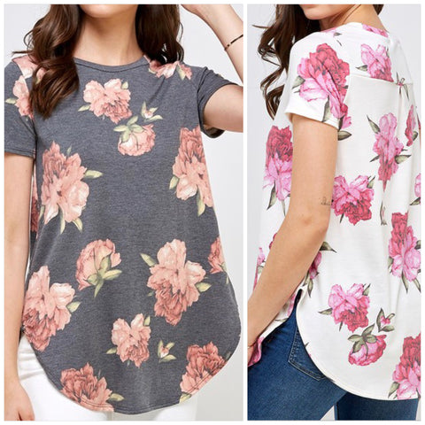 Floral French Terry Round Neck Short Sleeve Tunic Top