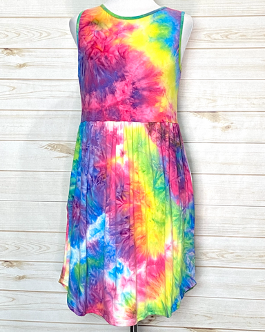 Rainbow Tie Dye Sleeveless Dress with Pockets
