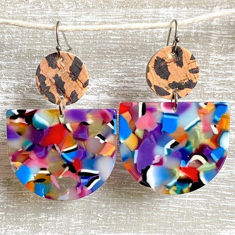 Funky Friday Acrylic/Cork Leather Dangles