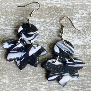 Black & White Marble Polymer Clay Earrings