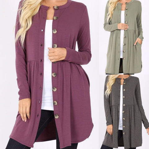 Shirred Waist Button Cardigan with Pockets