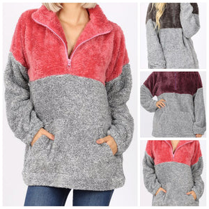 Faux Fur Zip Up Pullover with Kangaroo Pocket