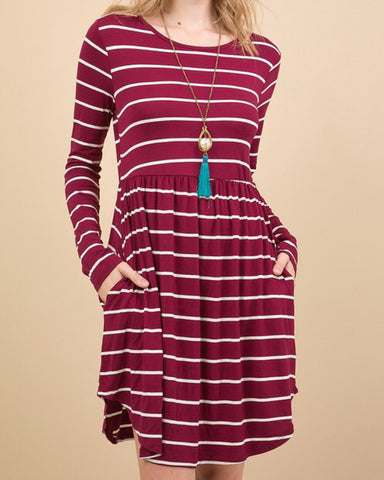Wine Colored Striped Fit & Flare with Pockets