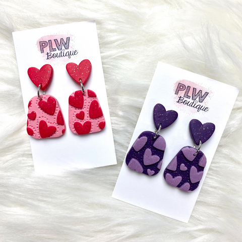 """Love You Too"" Polymer Clay Dangles"