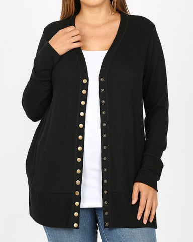 Simply Black Long Sleeve Snap Button Cardigan