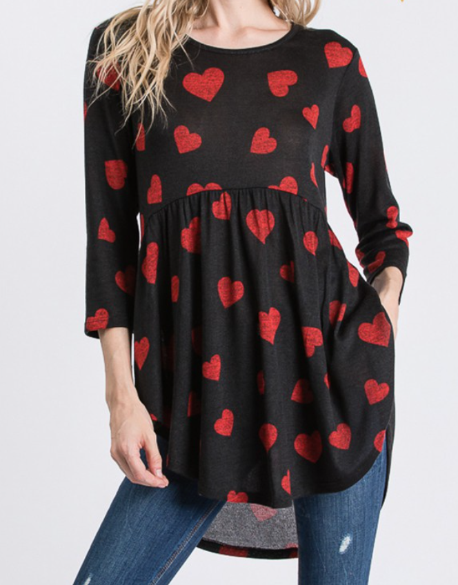 Black with Red Hearts Babydoll Top