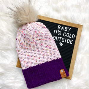 Fruity Speckles w/ Purple Brim Slouchy Beanie