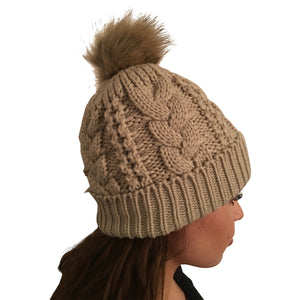 Tuque beige - pompom