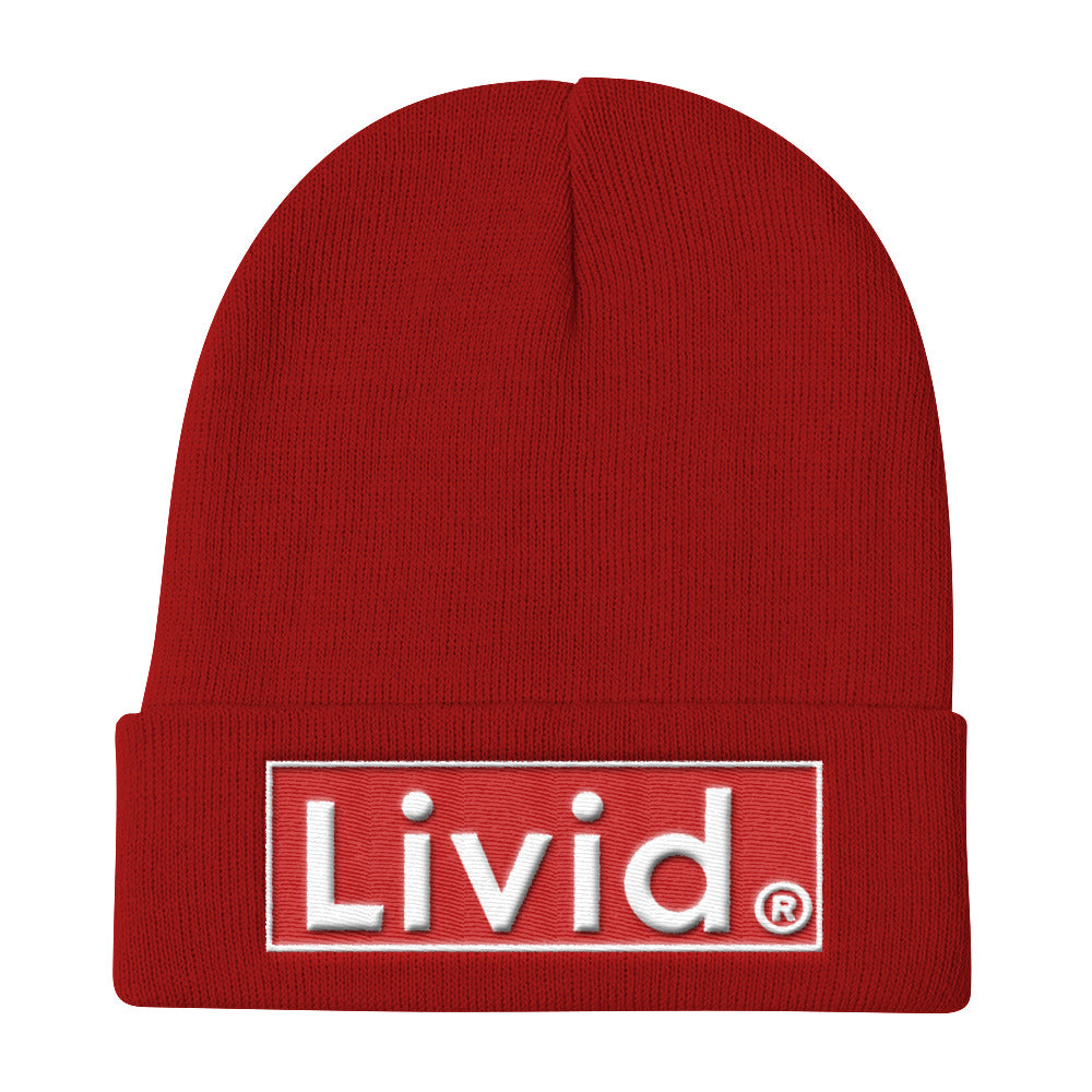 Livid ,Knit Beanie (white Letters)