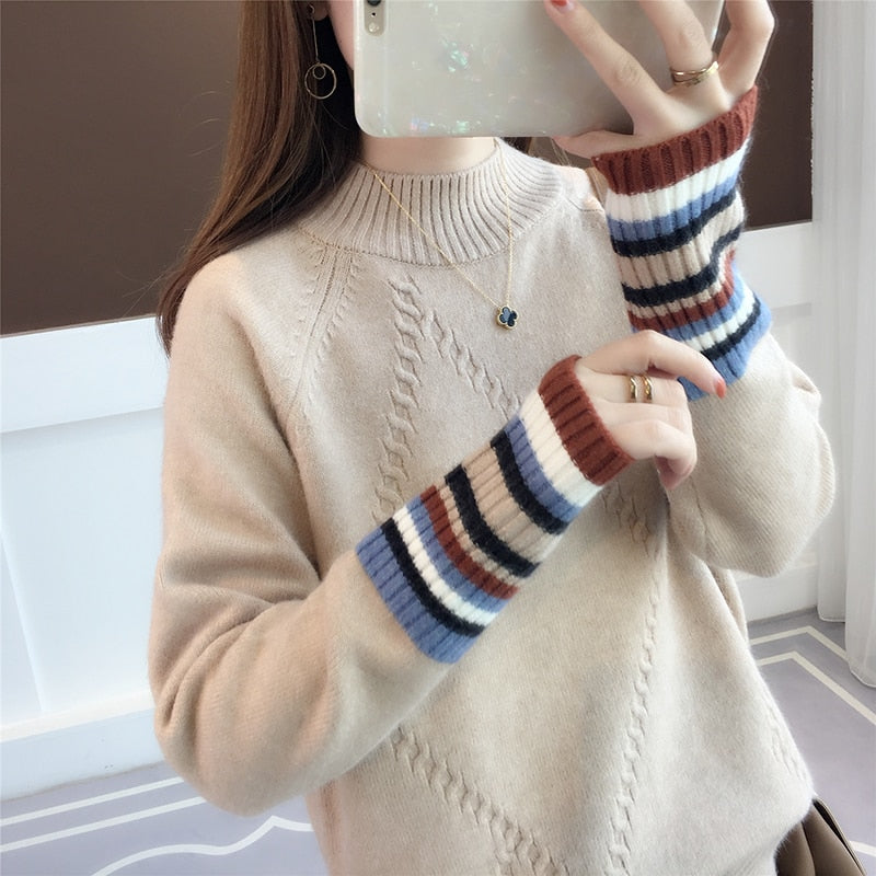 Coloured Sleeve Half-high Collar