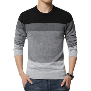 Casual Sweater O-Neck Striped Slim Fit Knitting Mens