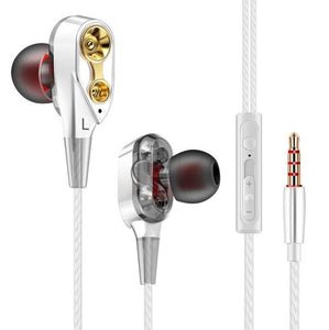 Double Unit Drive In Ear Earphone Bass Subwoofer Earphone for phone