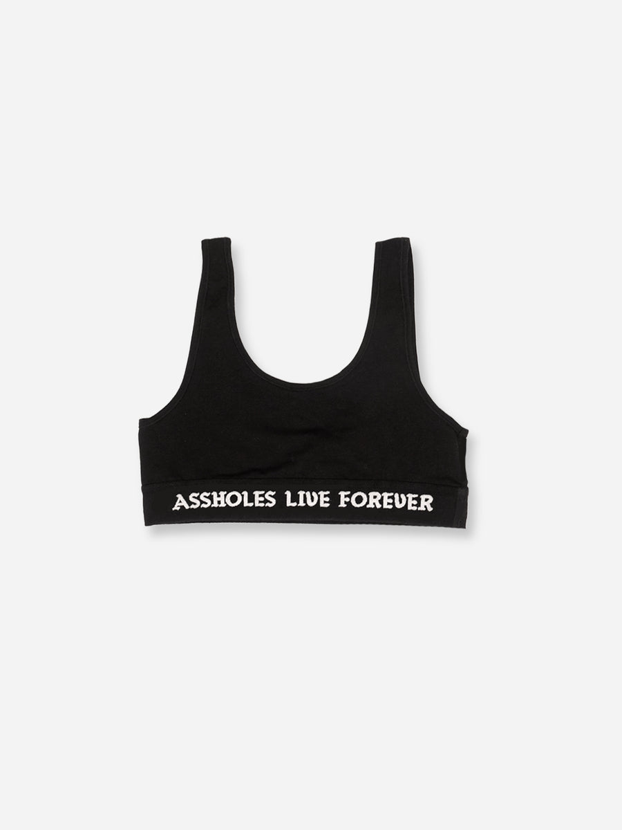 ASSHOLES LIVE FOREVER SPORTS BRA BLACK
