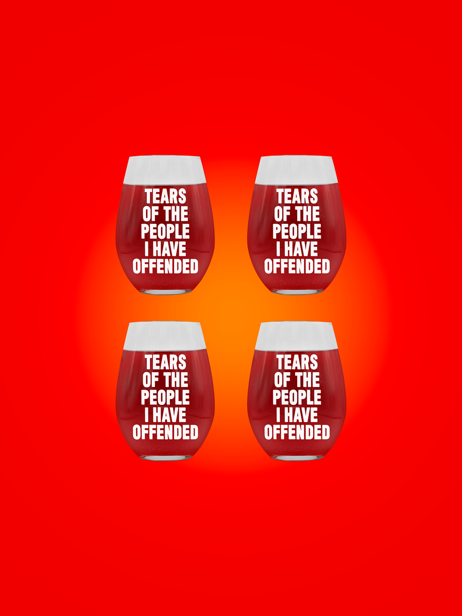 TEARS OF THE PEOPLE I'VE OFFENDED WINE GLASS 4-PACK