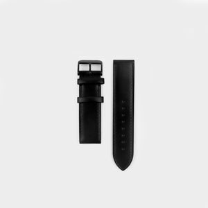 All Black Leather Strap 22mm