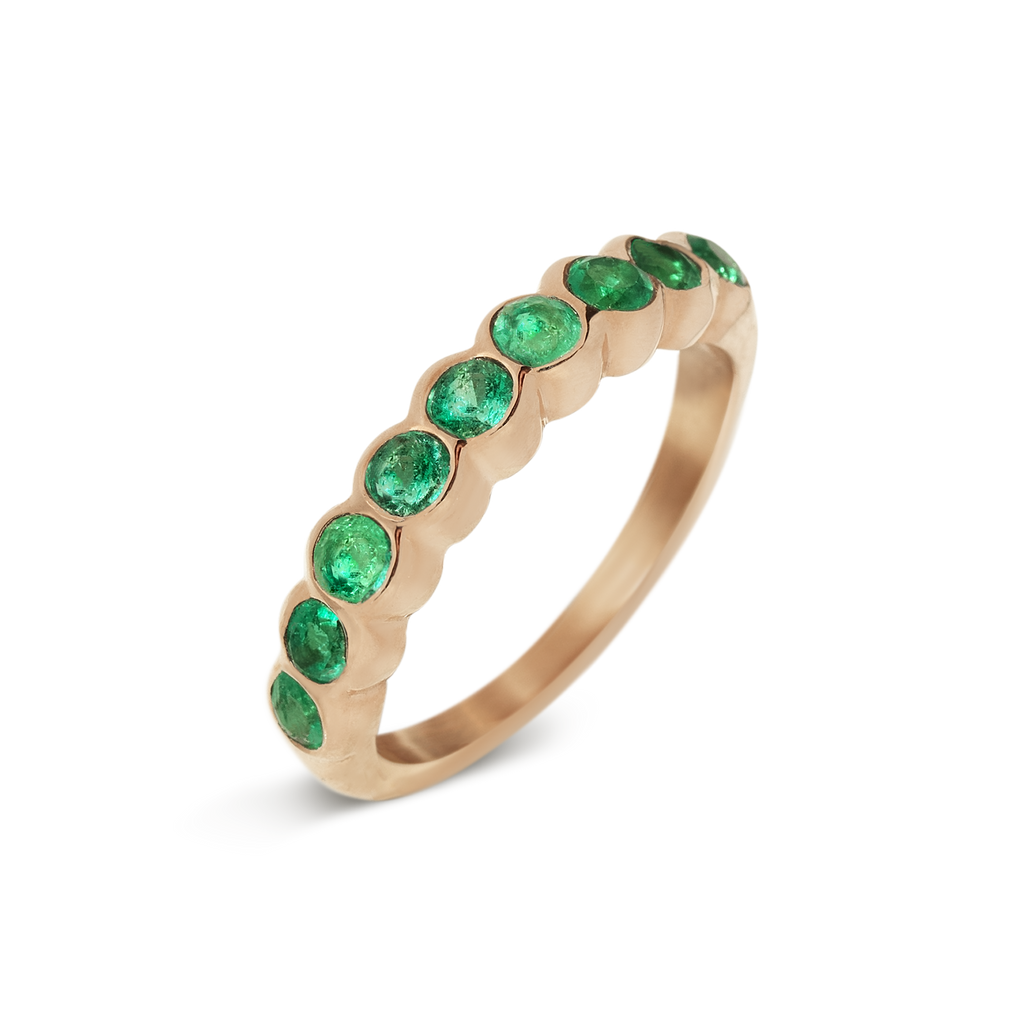 Passion Emerald Infinity Ring | 18k Rose Gold | 9 Stones