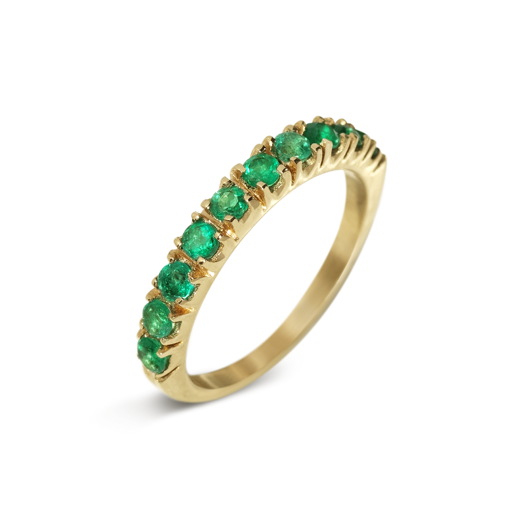 Passion Emerald Demi Eternity Ring | 18k Yellow Gold | 10 Stones