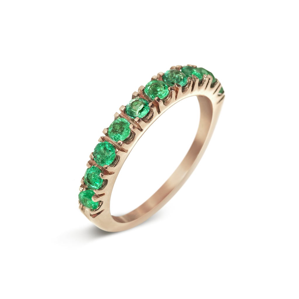 Passion Emerald Demi Eternity Ring | 18k Rose Gold | 10 Stones