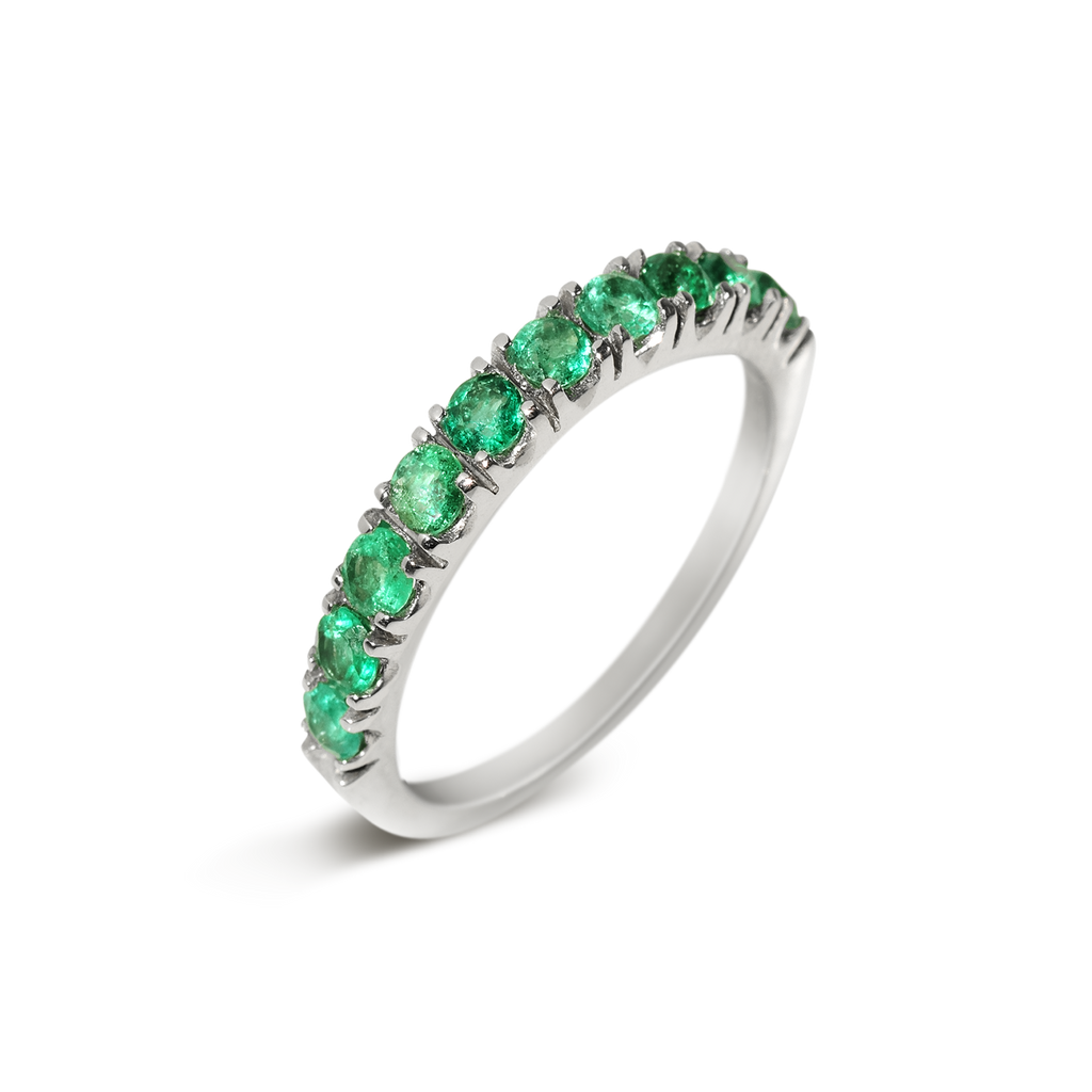Passion Emerald Demi Eternity Ring | 18k White Gold | 10 Stones