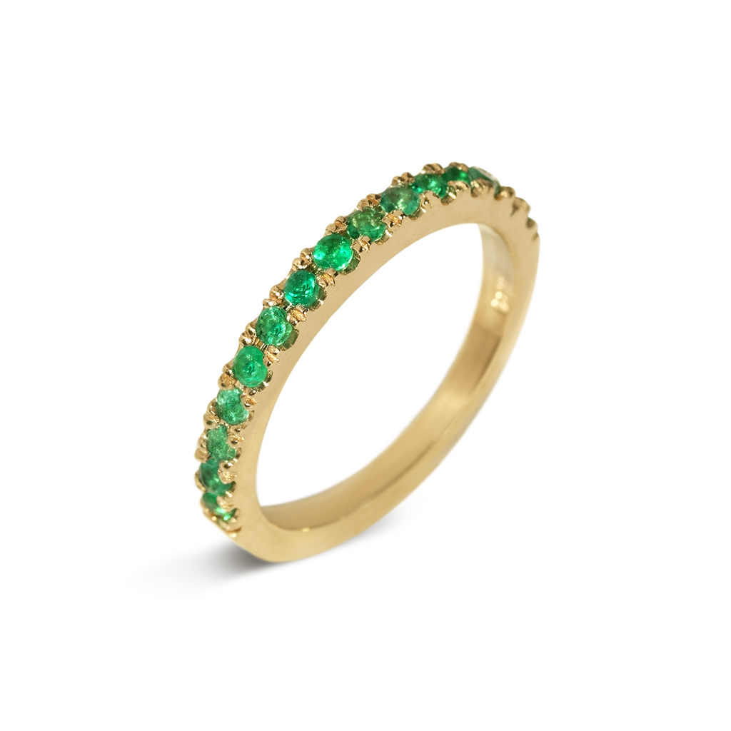 Amor Emerald Demi Eternity Ring | 18k Yellow Gold | 15 Stones