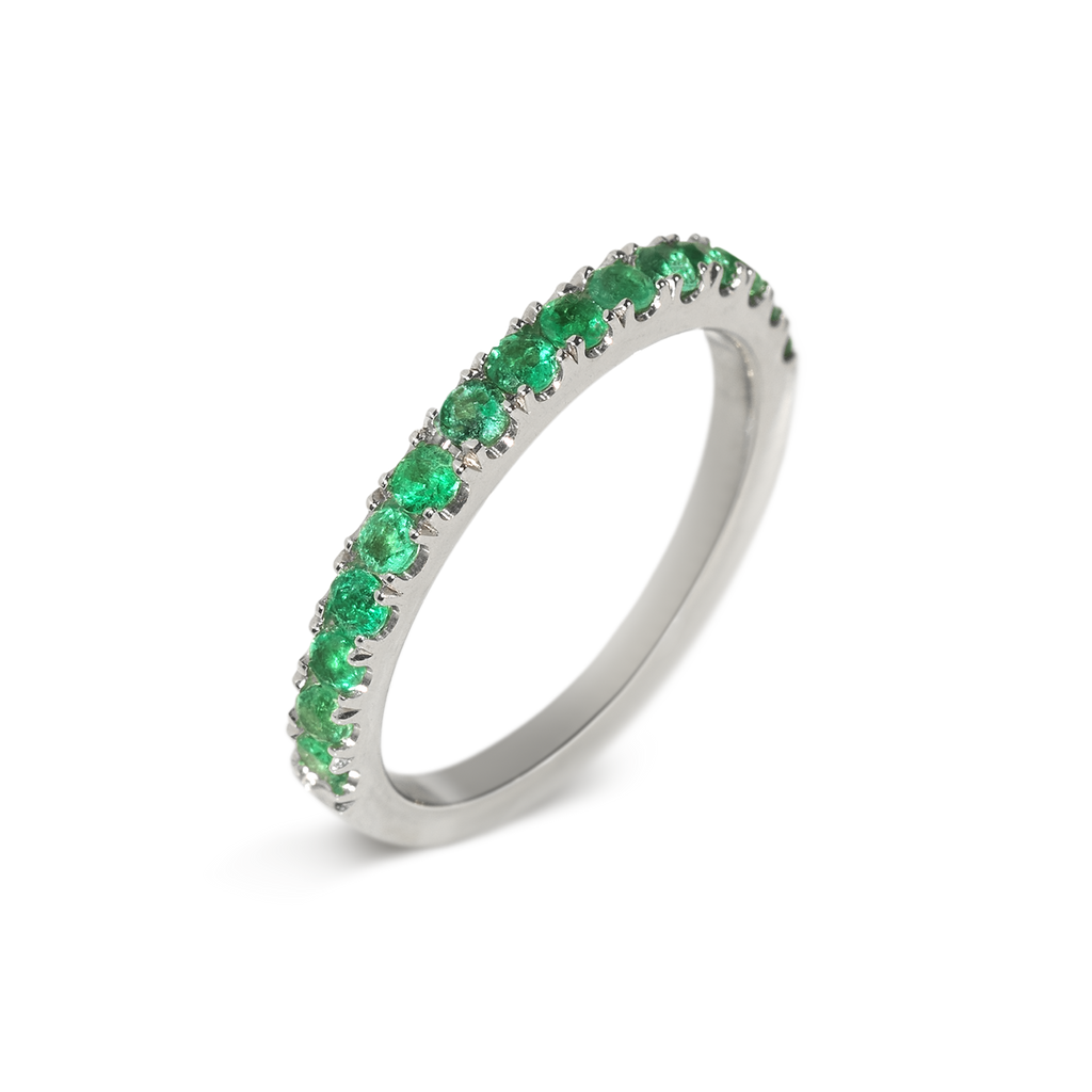 Amor Emerald Demi Eternity Ring | 18k White Gold | 15 Stones